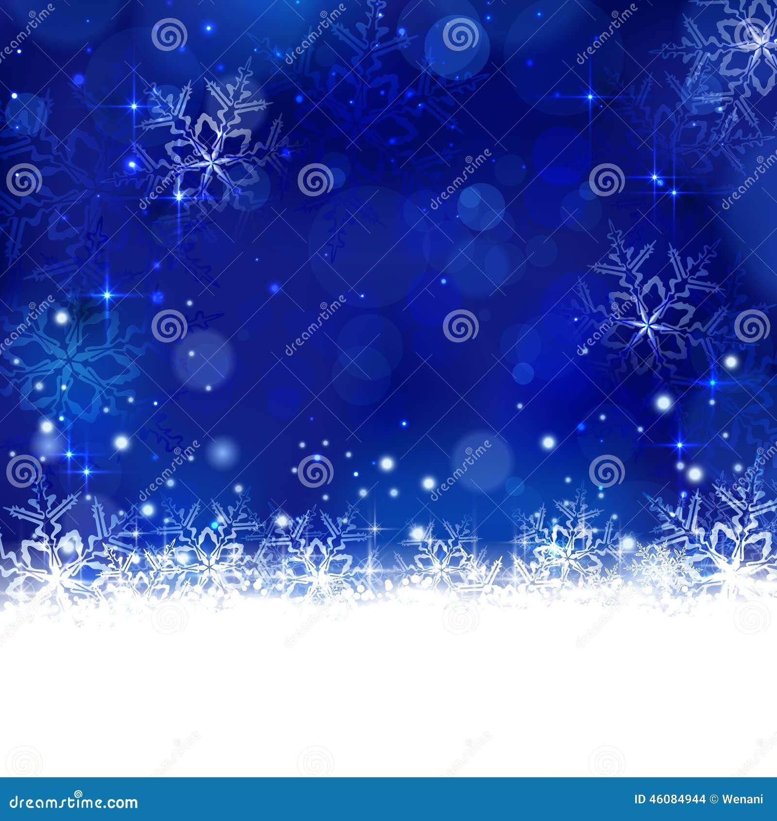 Invierno azul, fondo de la Navidad con los copos de nieve, estrellas y shi