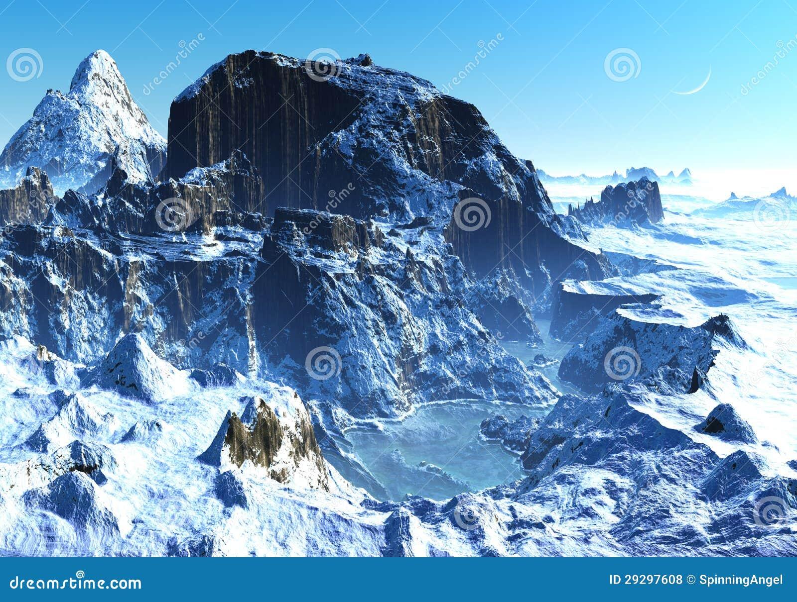Invierno en valle de la montaña