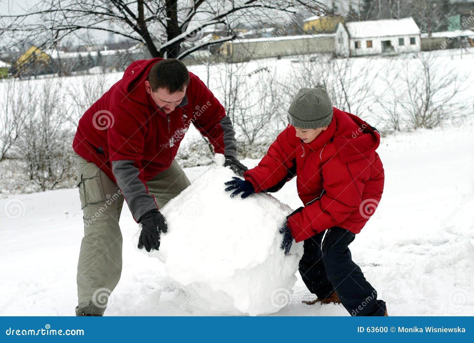 Invierno - fabricación del muñeco de nieve