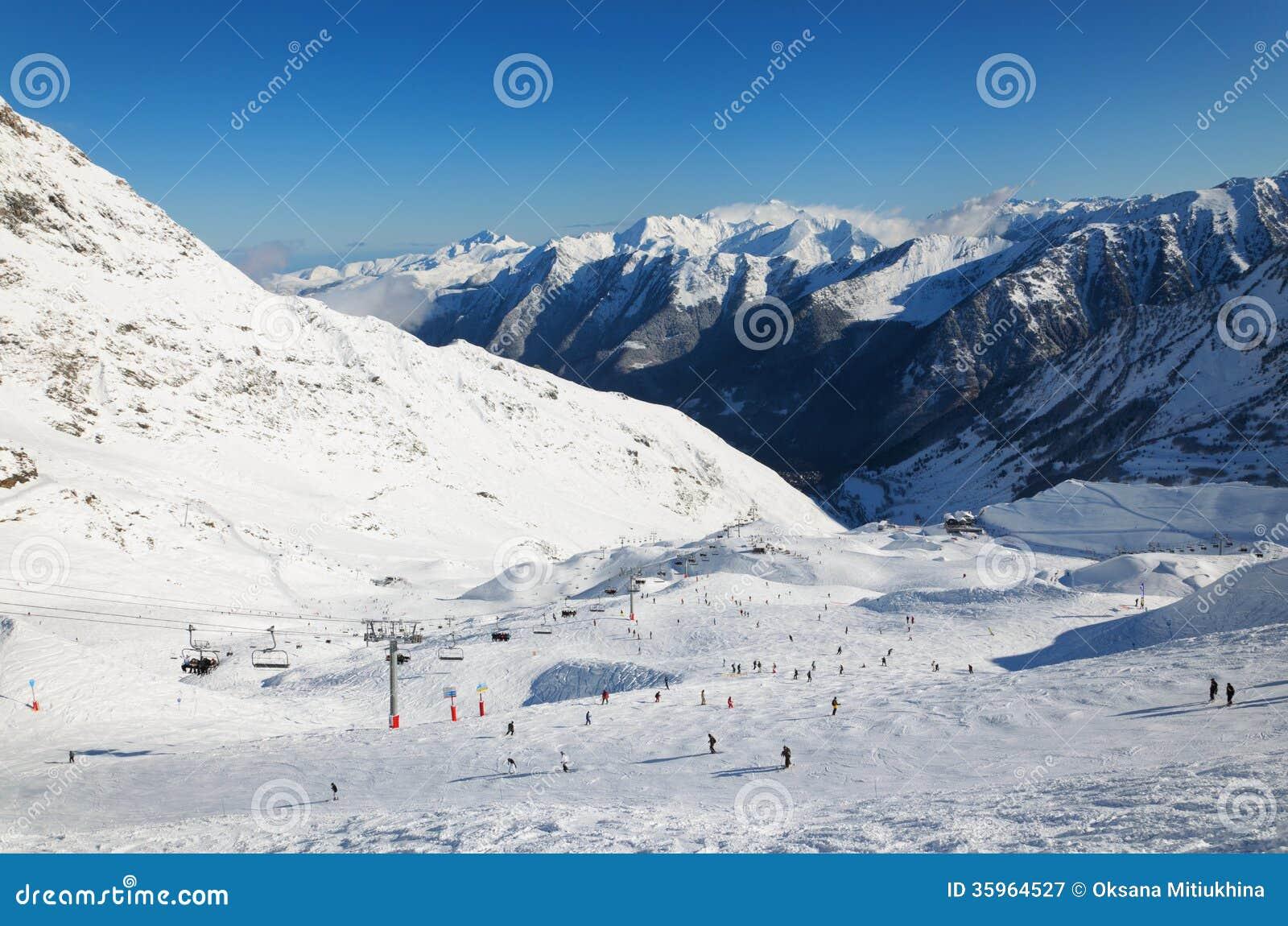Invierno los Pirineos con la cuesta alpina del esquí.