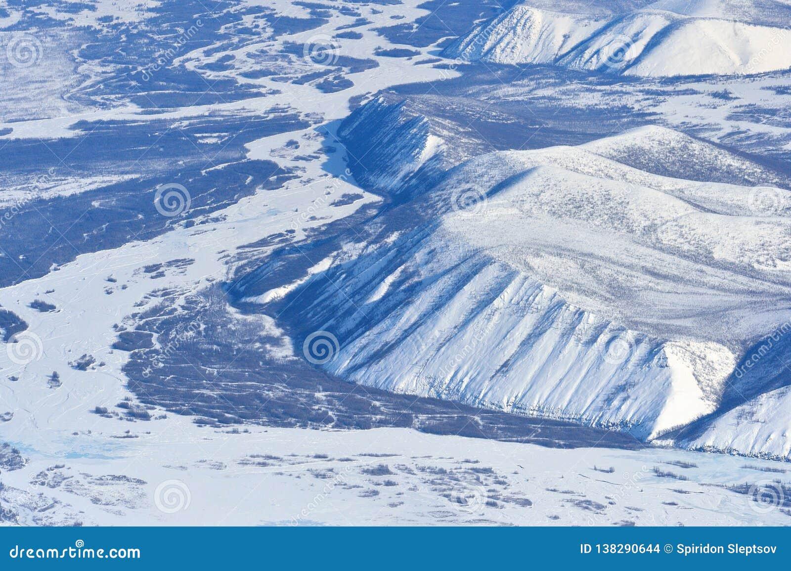 Invierno Oymyakon Yakutia de una vista panorámica