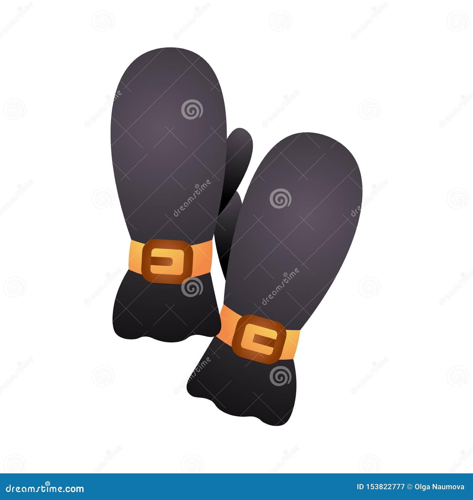 Invierno que camina negro natural del material de algodón de los guantes