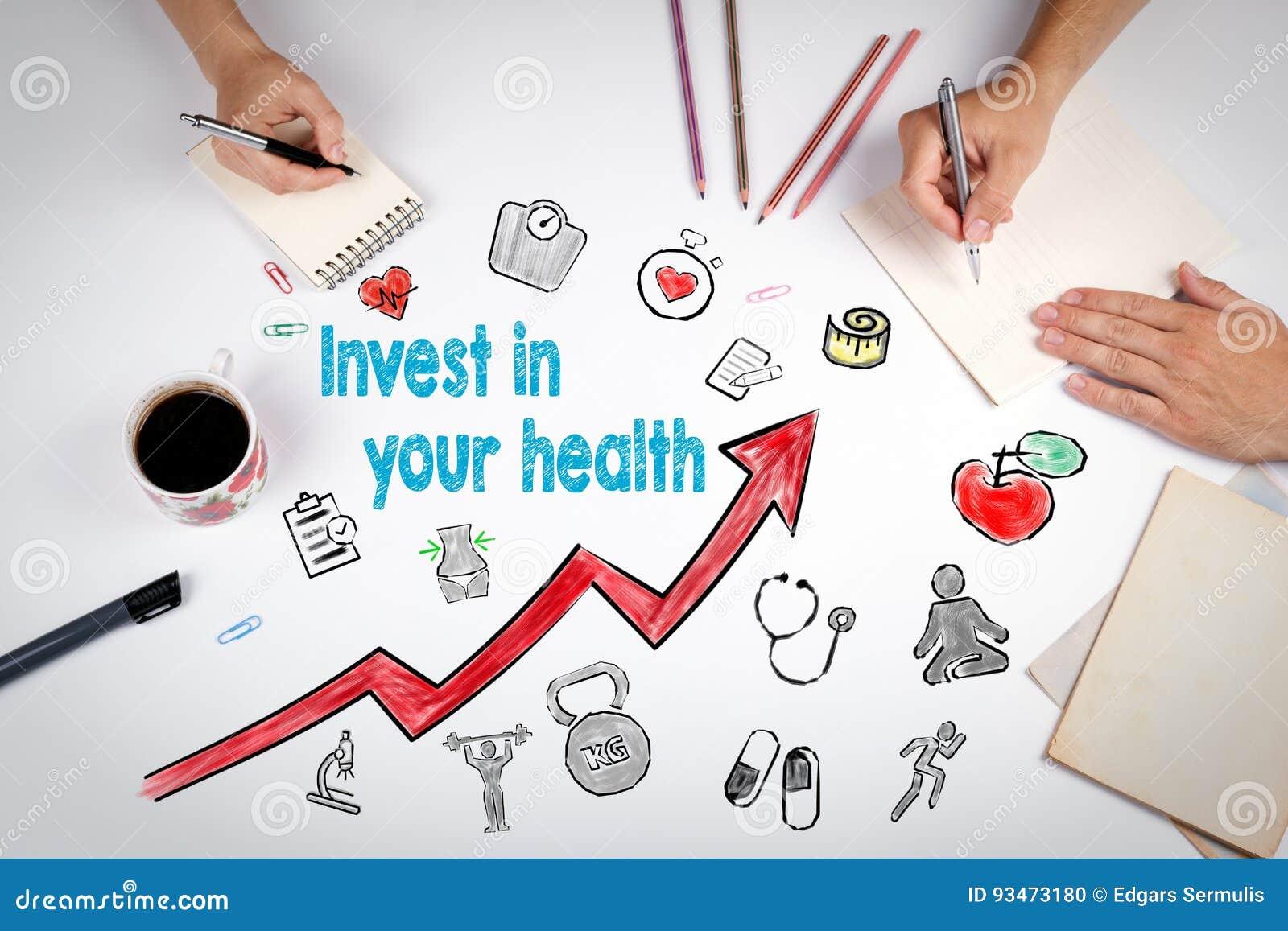 Invierta en su concepto de la salud Fondo de la forma de vida de Healty La reunión en la tabla blanca de la oficina