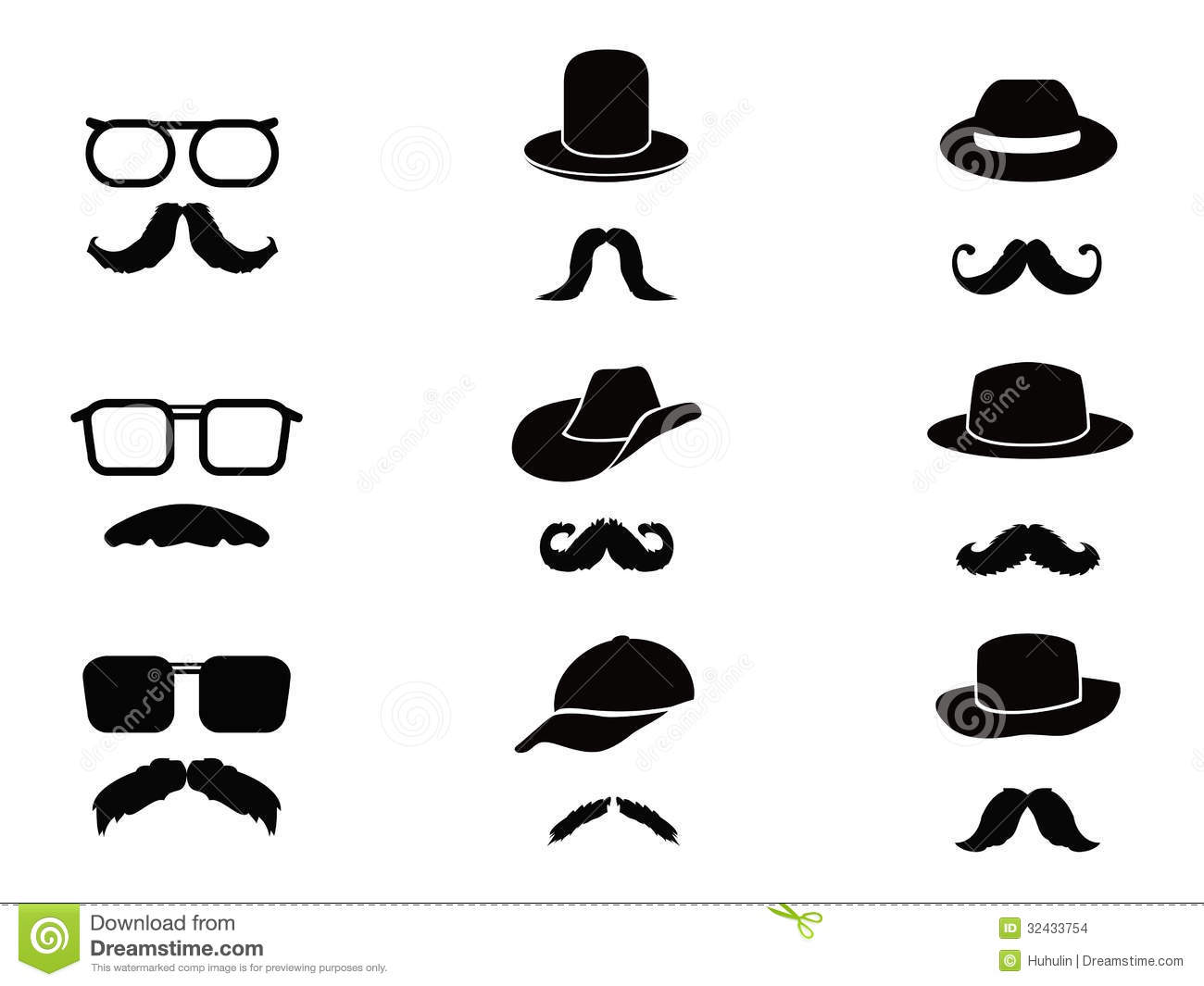 Invisible Man With Mustache Glasses And Hats Stock Vector