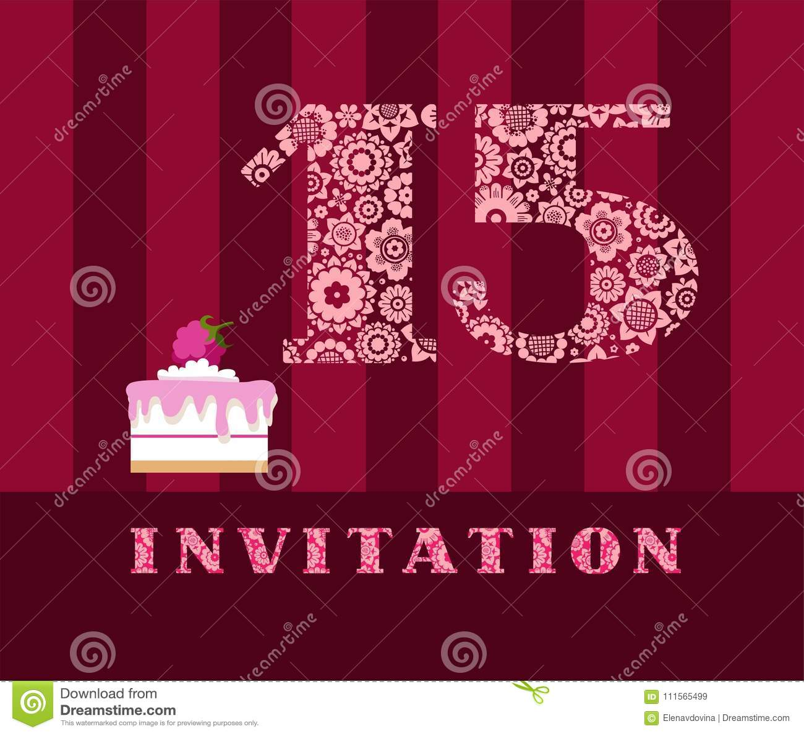 Invitación 15 Años Torta Color Vector Ilustración Del