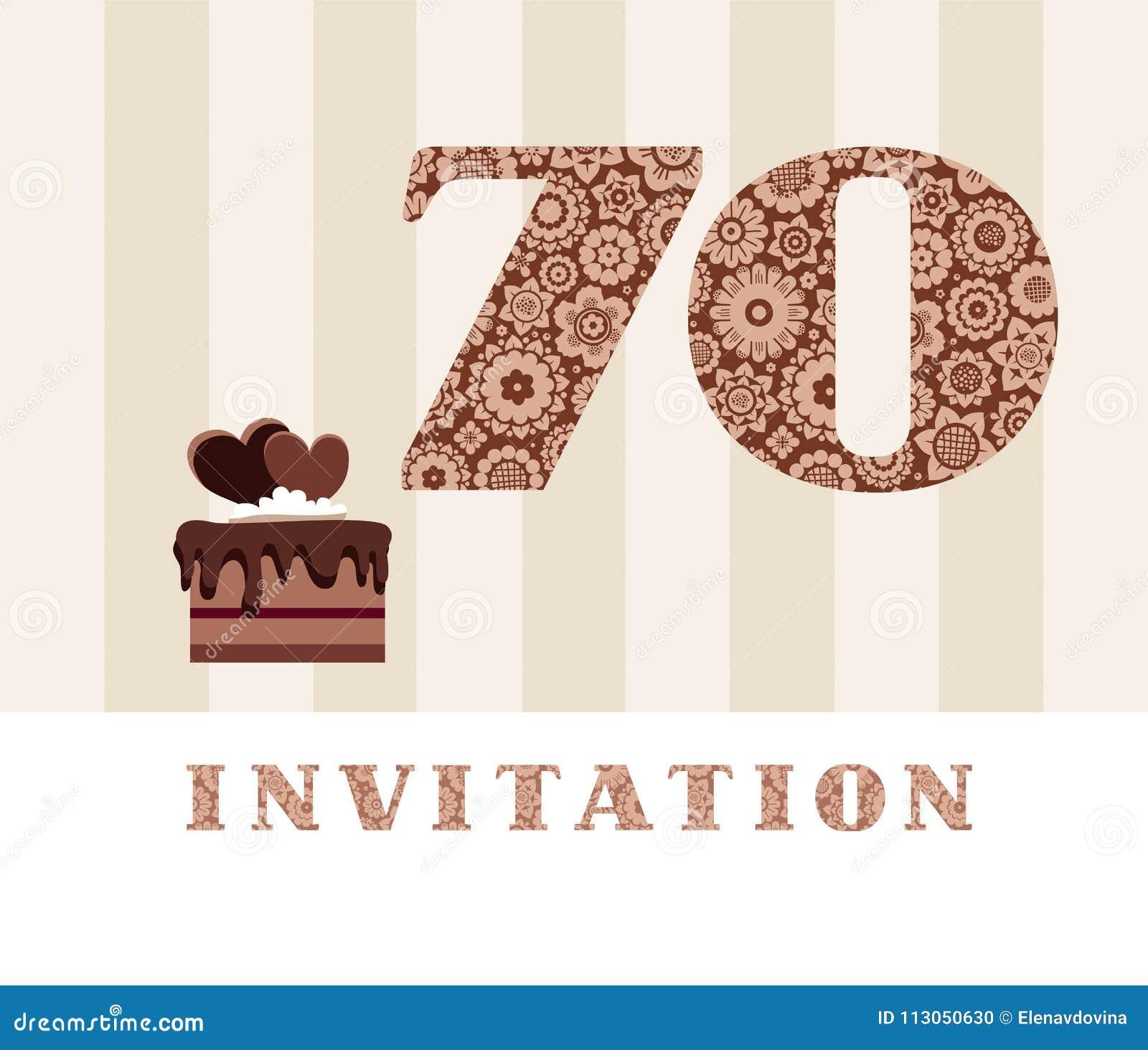 Invitación 70 Años Torta De Chocolate Corazón Vector