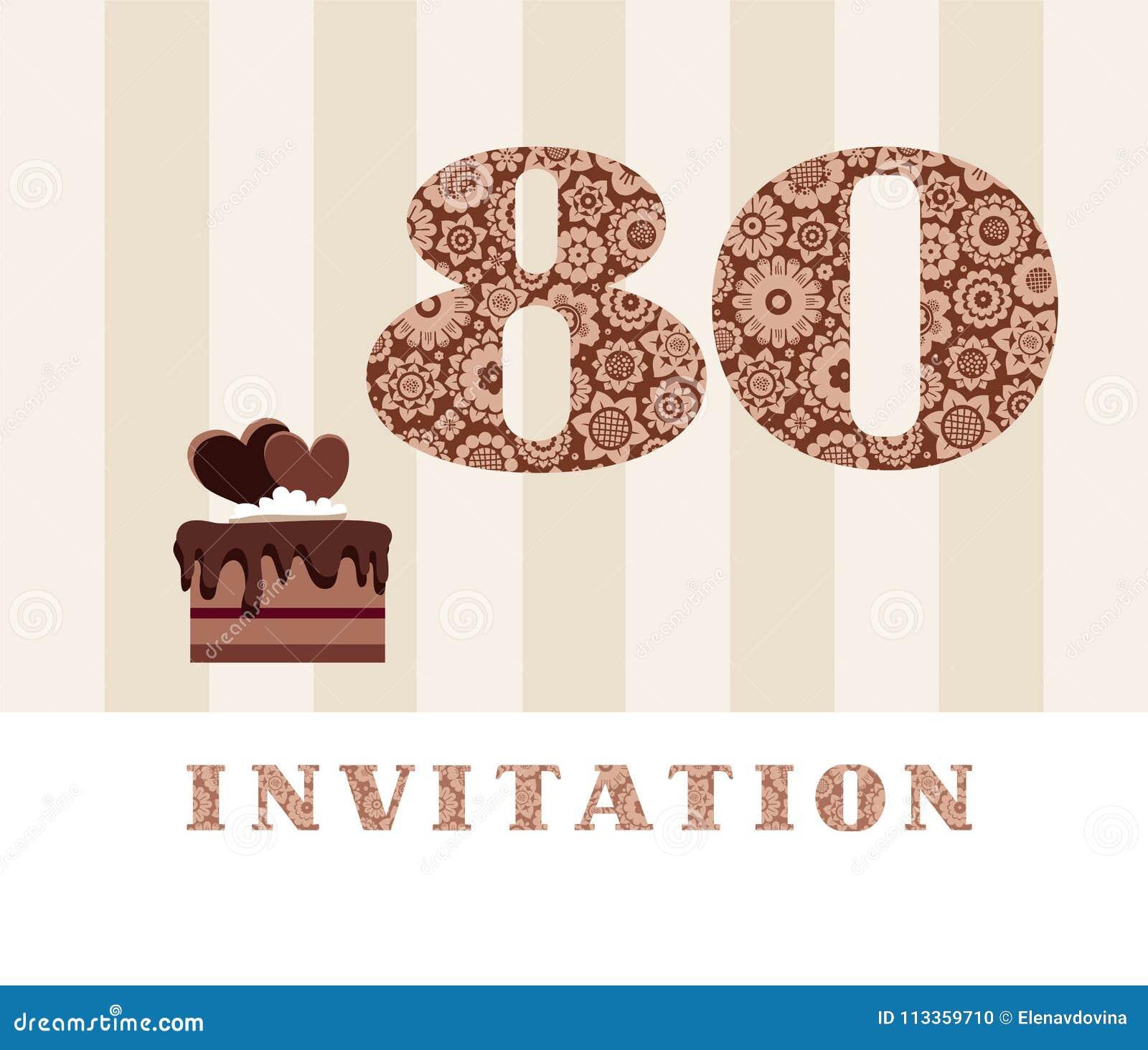 Invitación 80 Años Torta De Chocolate Corazón Vector