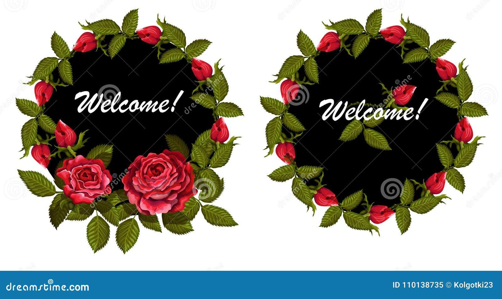 Invitacion Bajo La Forma De Circulo Con Un Diseno De Rosas Y De - Diseos-de-rosas