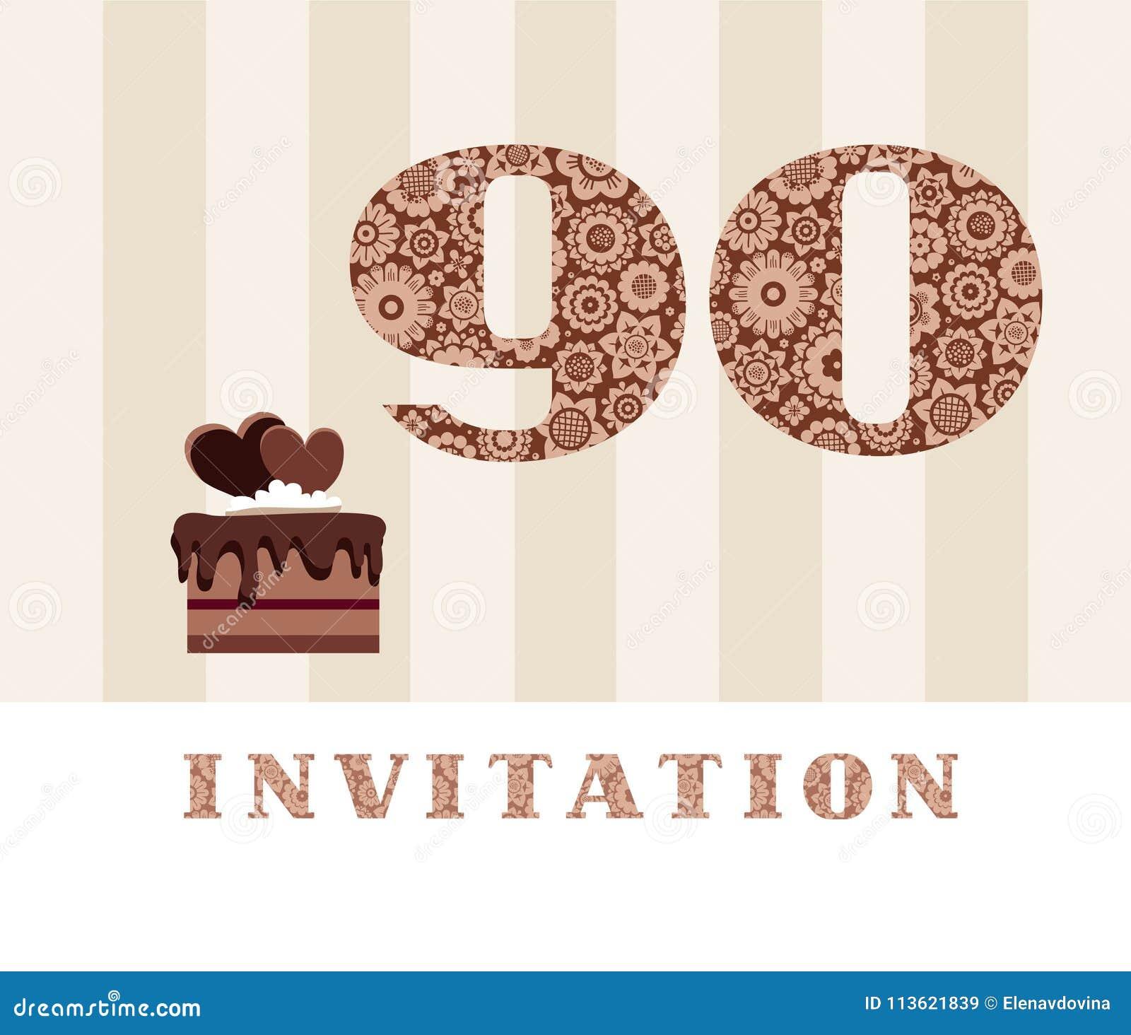 Invitación Color 90 Años Torta De Chocolate En Forma De