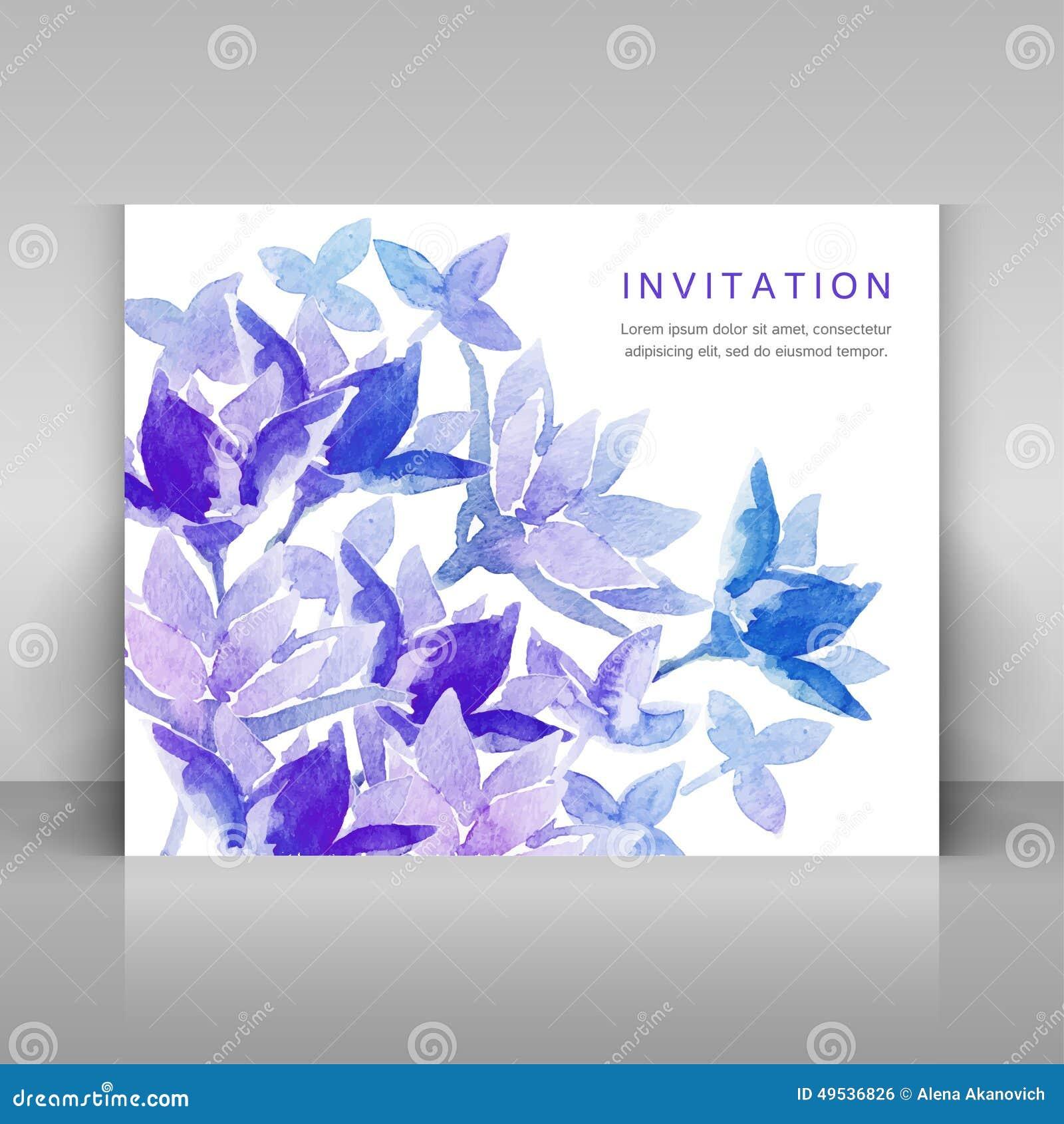 Invitacion Con Las Flores Azules De La Acuarela Ilustracion Del