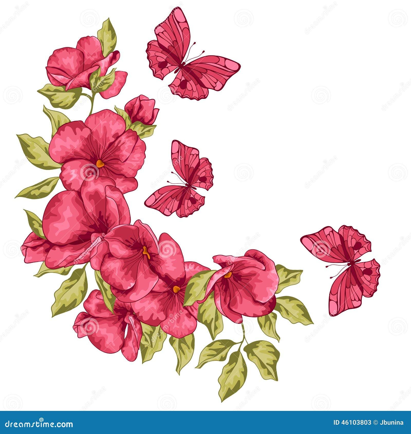 Invitación De Boda Flores Y Mariposa Ilustración Del Vector