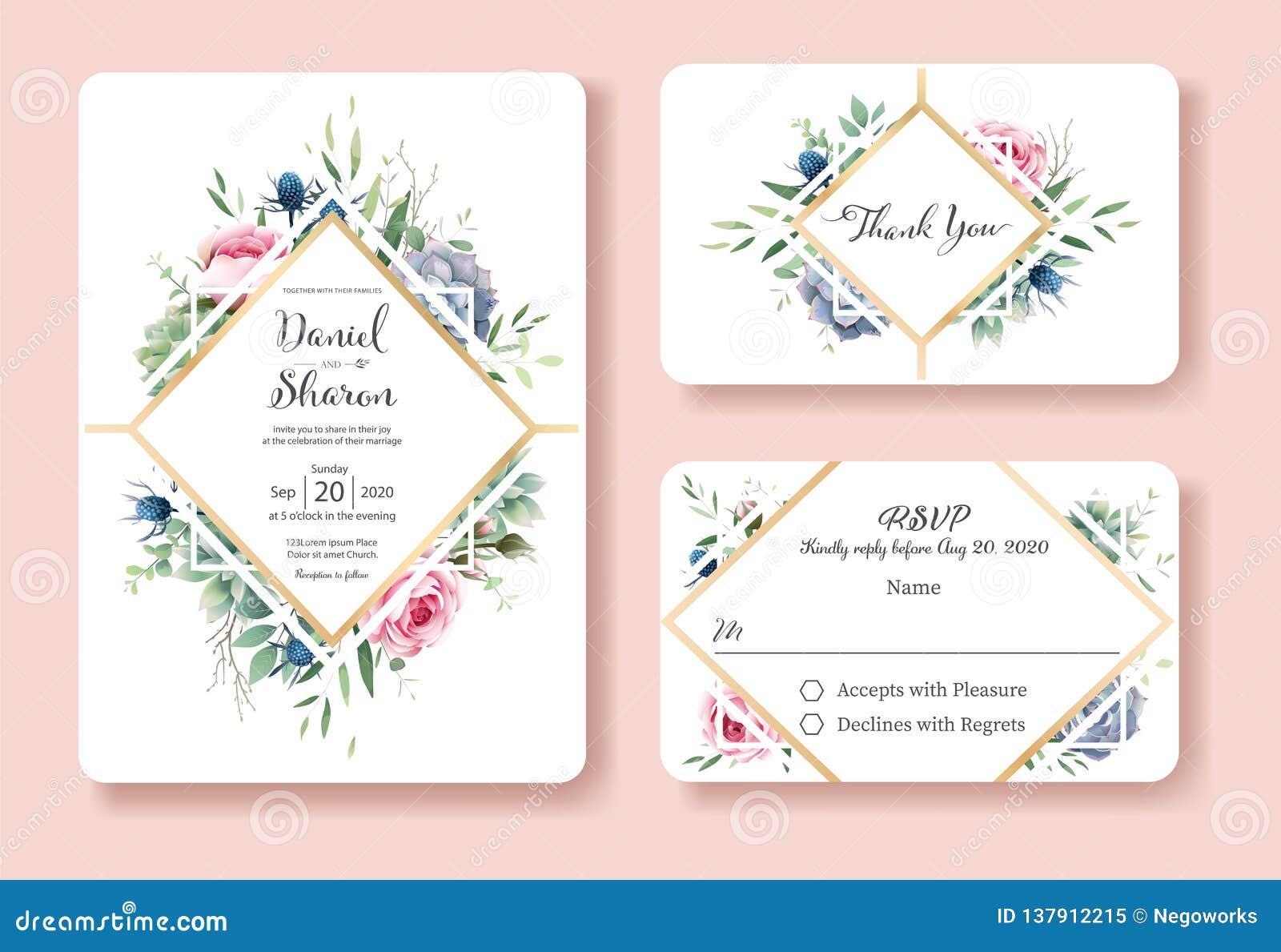 Invitación de la boda, gracias, plantilla del diseño de tarjeta del rsvp La reina de Suecia subió flor, hojas, plantas suculentas