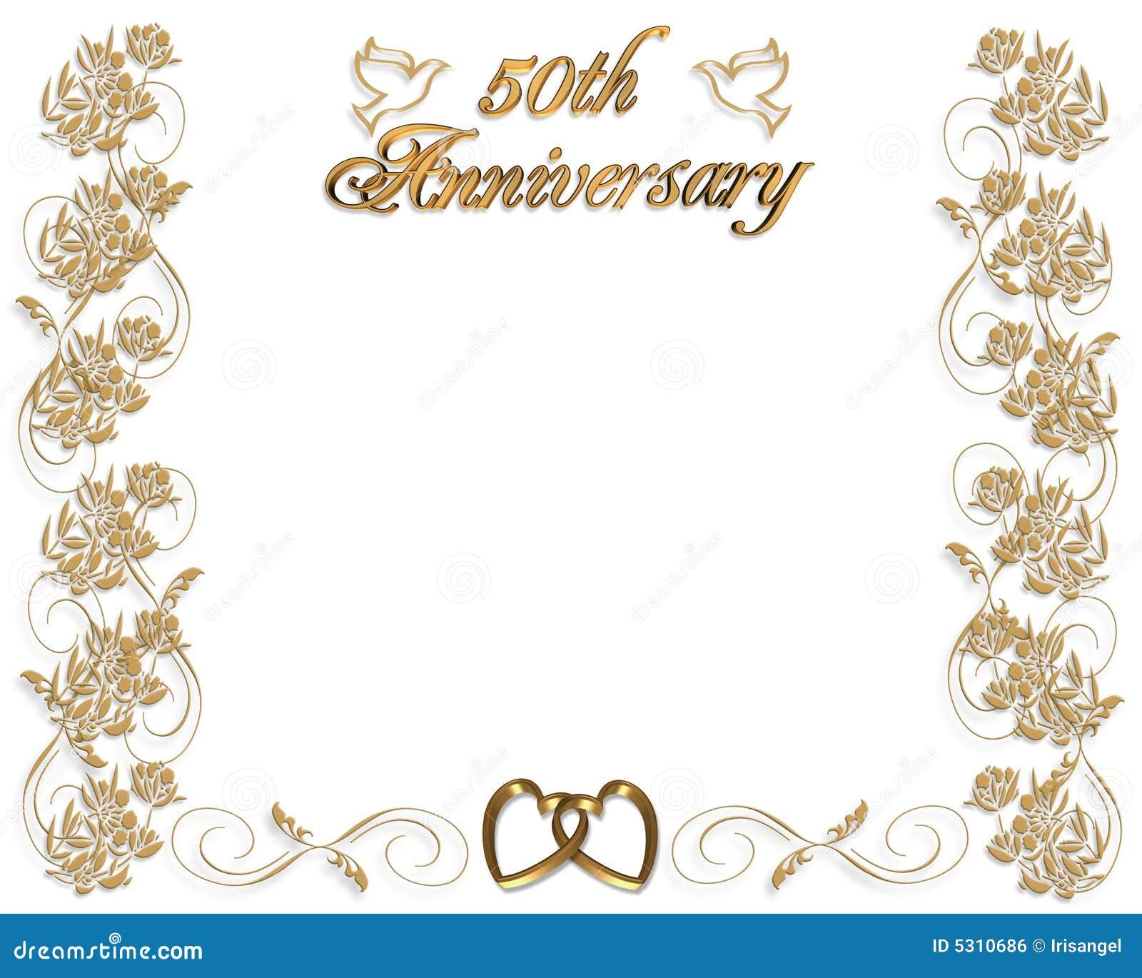 Invitación Del Aniversario De Boda 50 Años Stock De