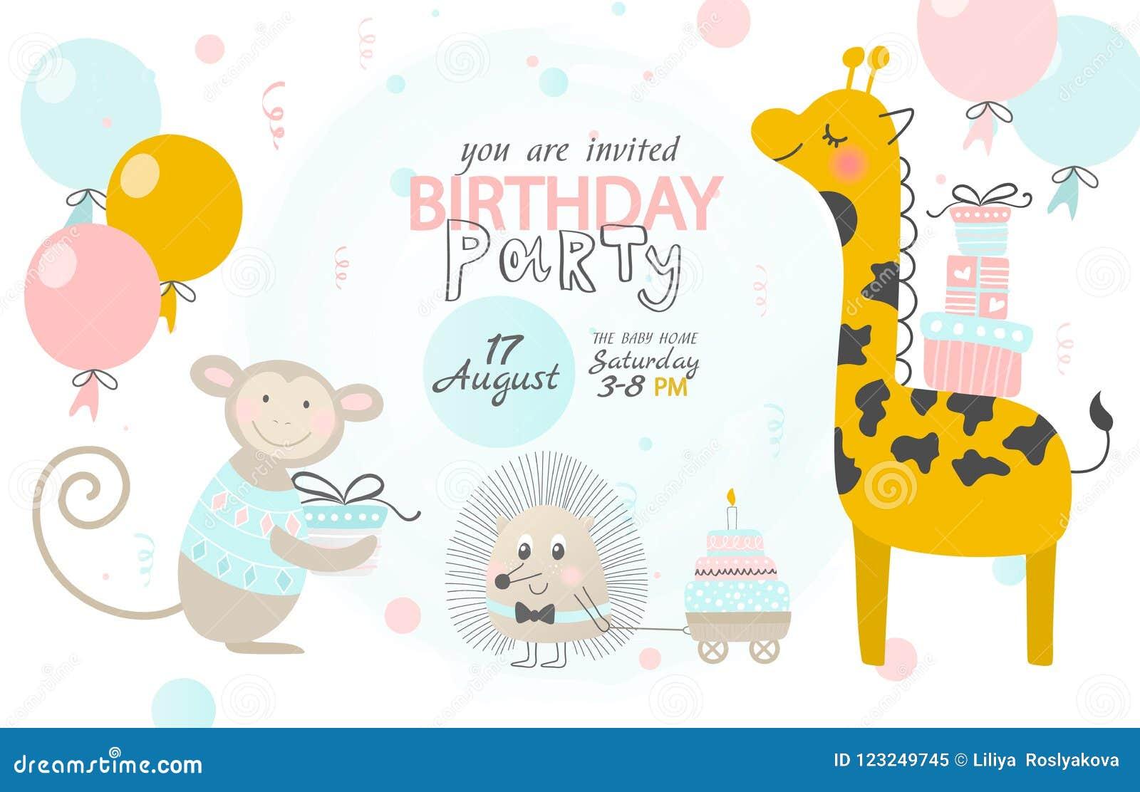 Invitación Del Cumpleaños Con La Jirafa El Erizo Y El Mono