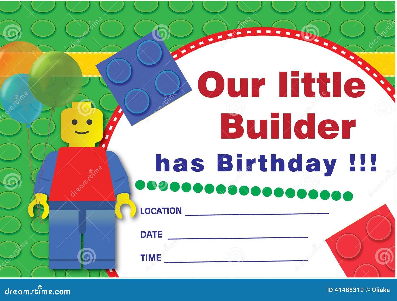 Invitación Del Cumpleaños De Lego Stock De Ilustración