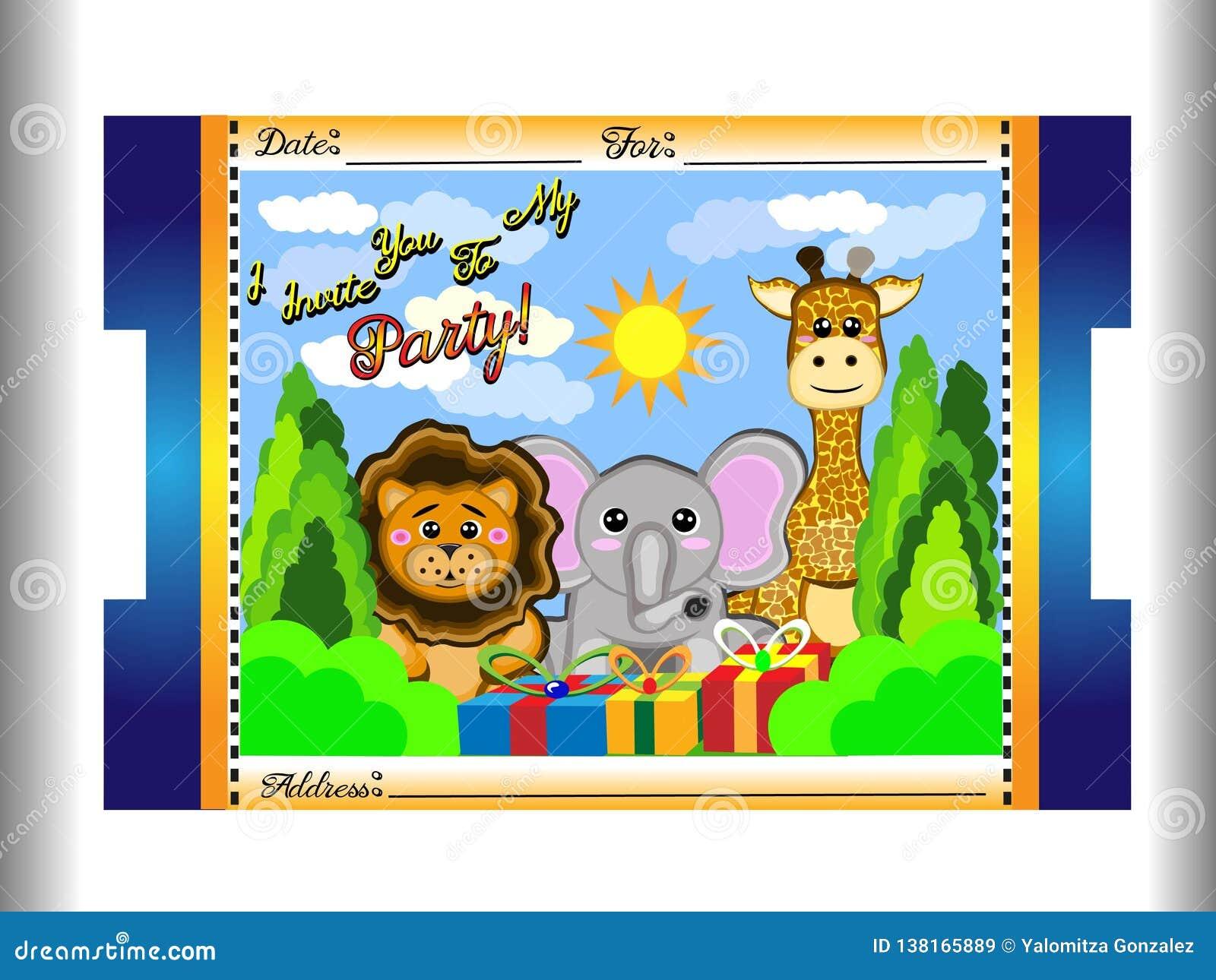 Invitación Del Cumpleaños Para Los Niños De Animales Tales