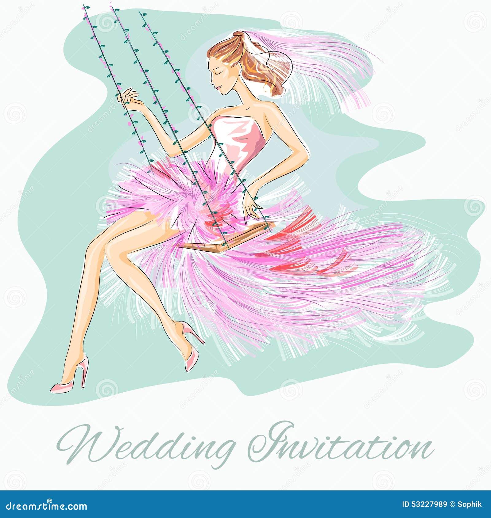 Invitación del día de boda con el prometido hermoso en un oscilación