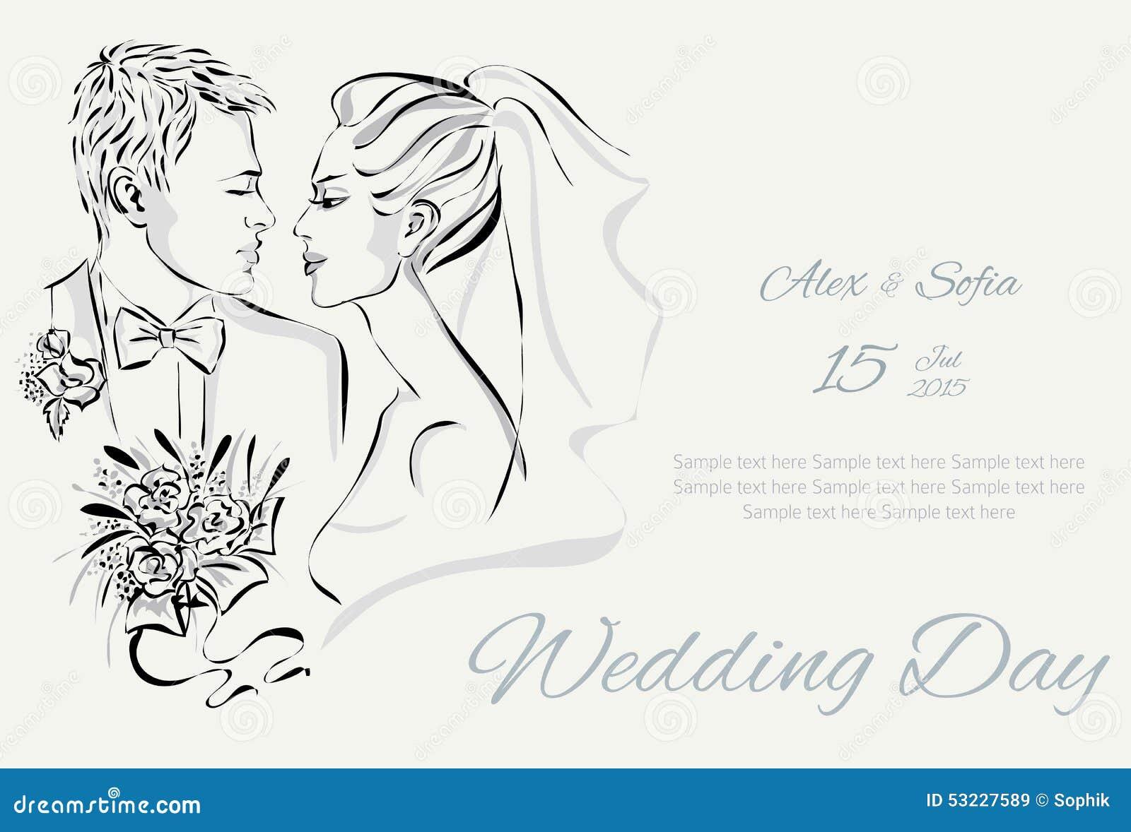 Invitación del día de boda con los pares dulces
