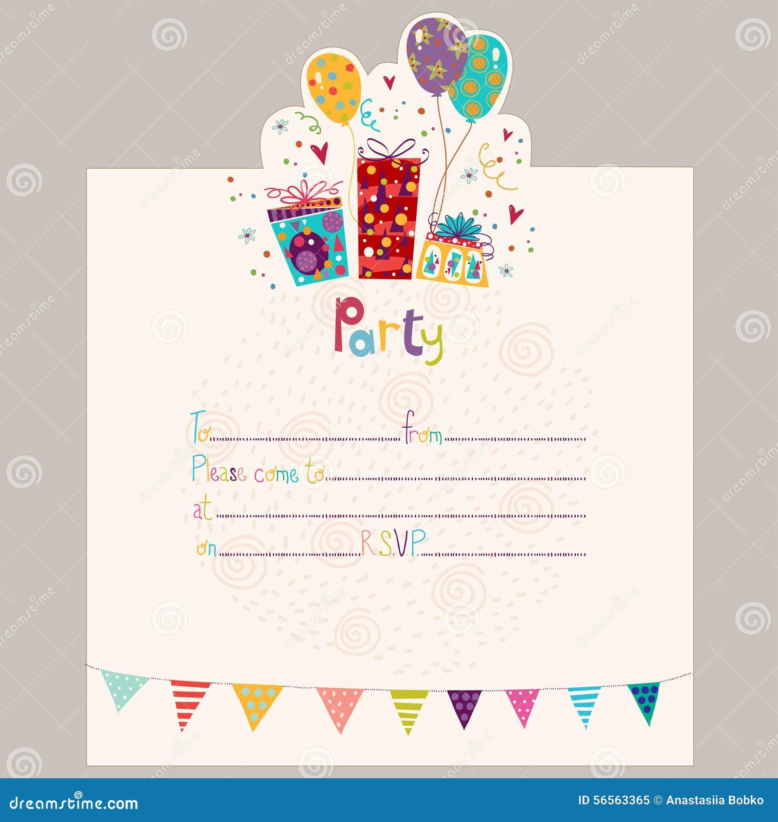 Invitación Del Feliz Cumpleaños Tarjeta De Felicitación Del