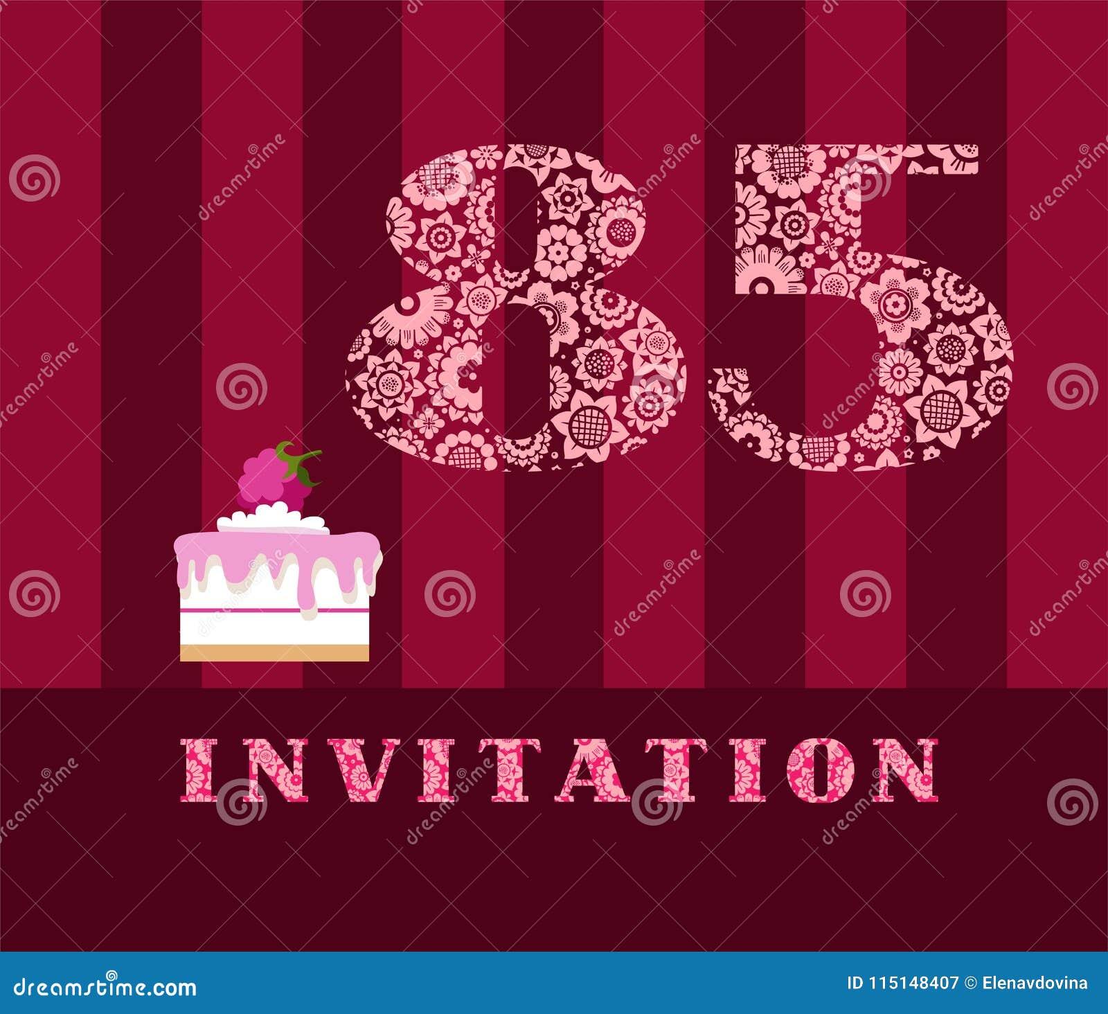 Invitación 85 Empanada De La Frambuesa Vector Inglés