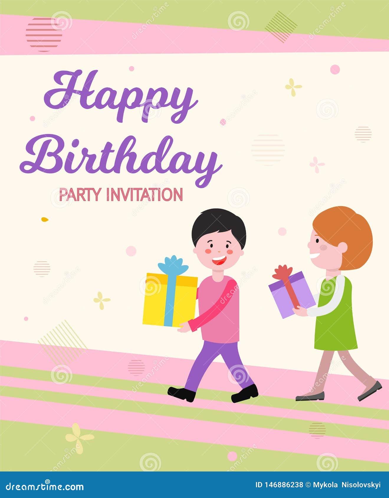 Invitación Escrita Vector Del Partido Del Feliz Cumpleaños