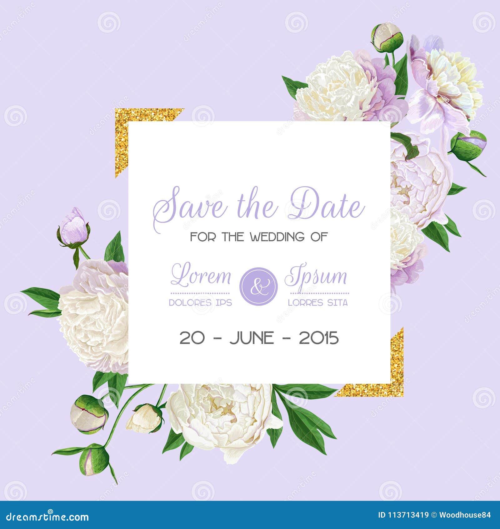 Invitación Floral De La Boda Ahorre La Tarjeta De Fecha Con Las ...