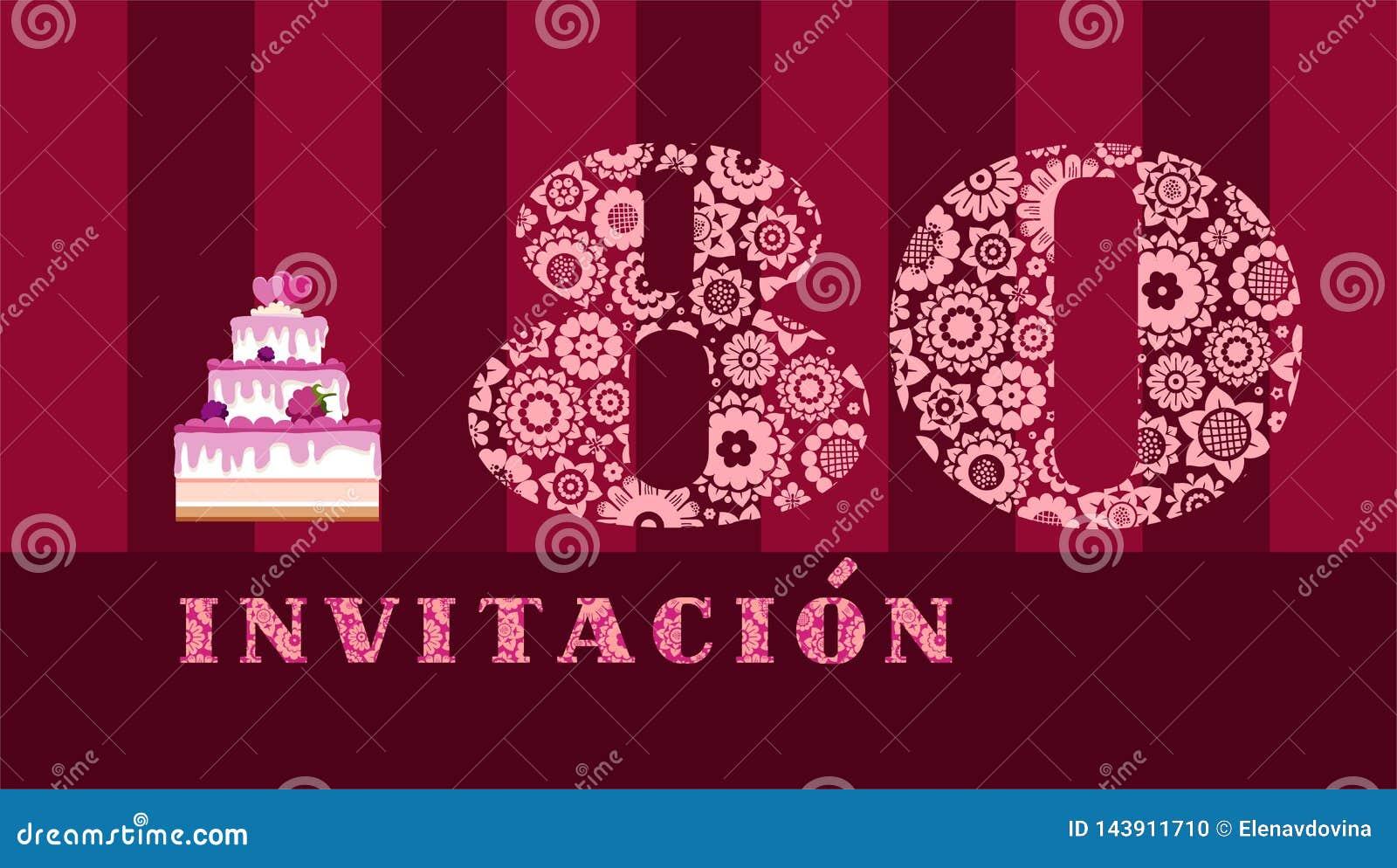 Invitación A La Celebración 80 Años Torta De La Baya