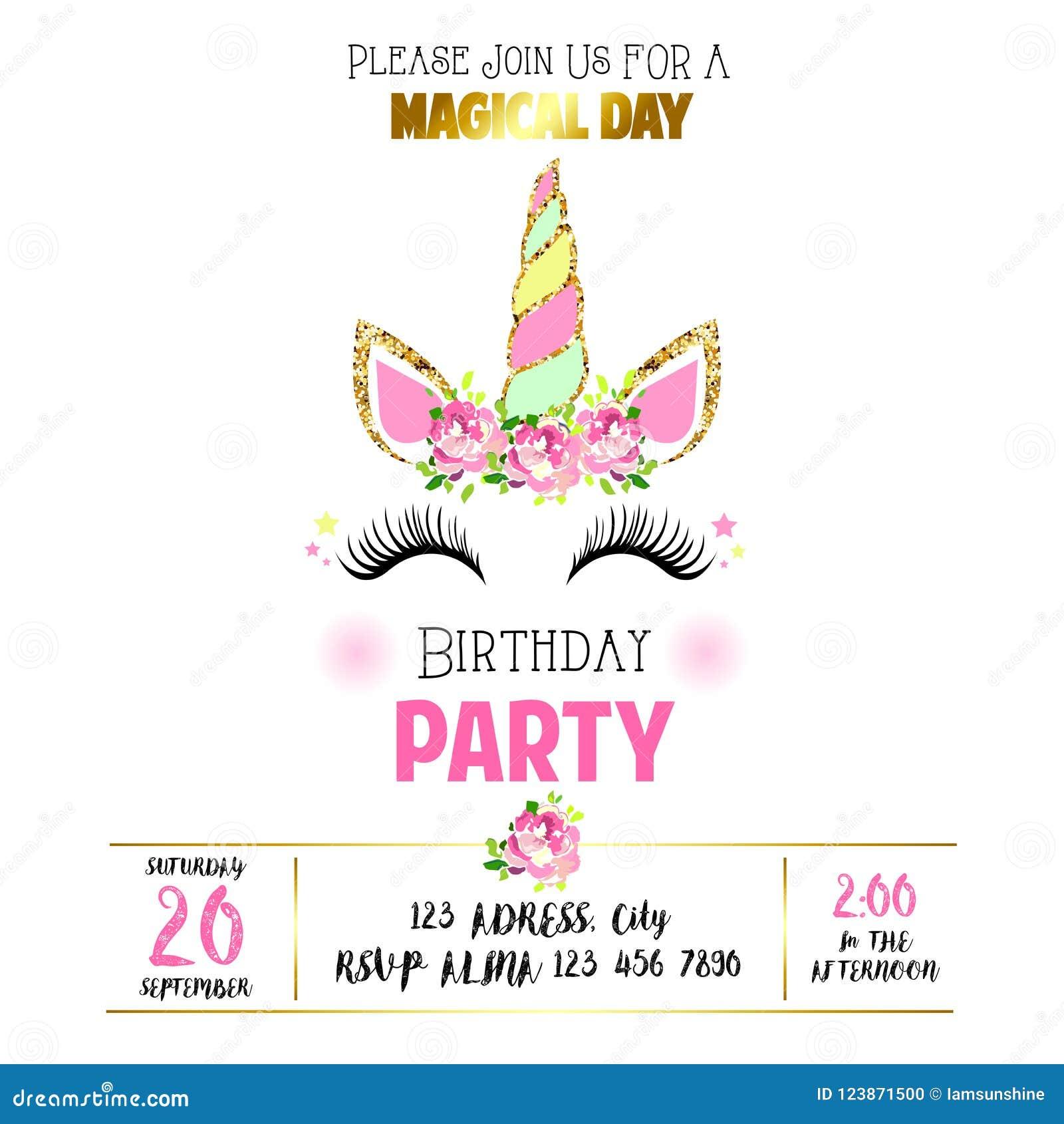 Invitación Linda Del Cumpleaños Con Unicornio Ilustración