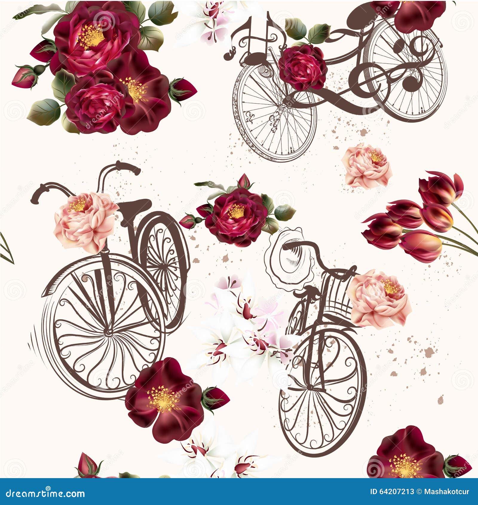 Invitación linda del vector con la bicicleta y las flores falsas