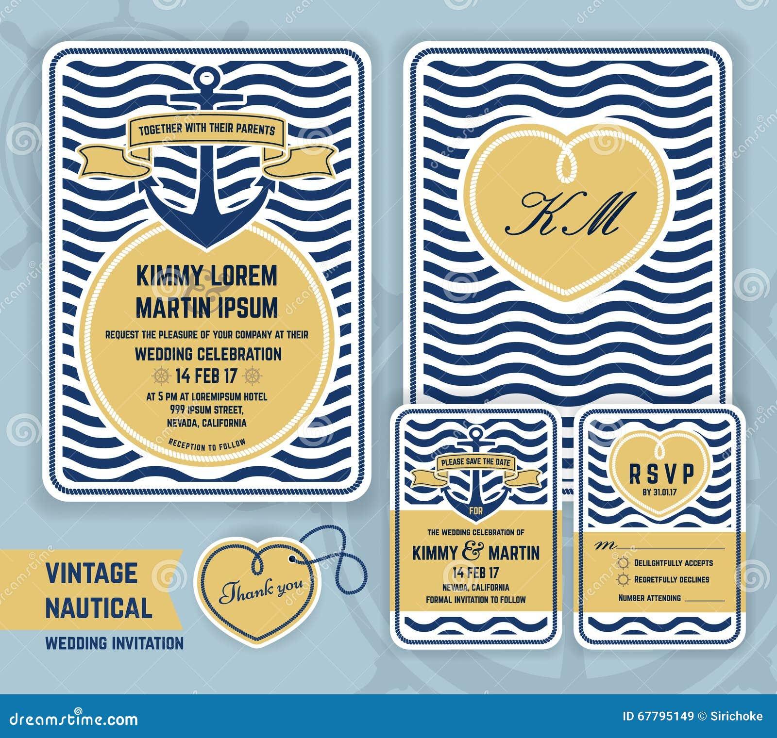Invitación náutica de la boda del ancla del vintage
