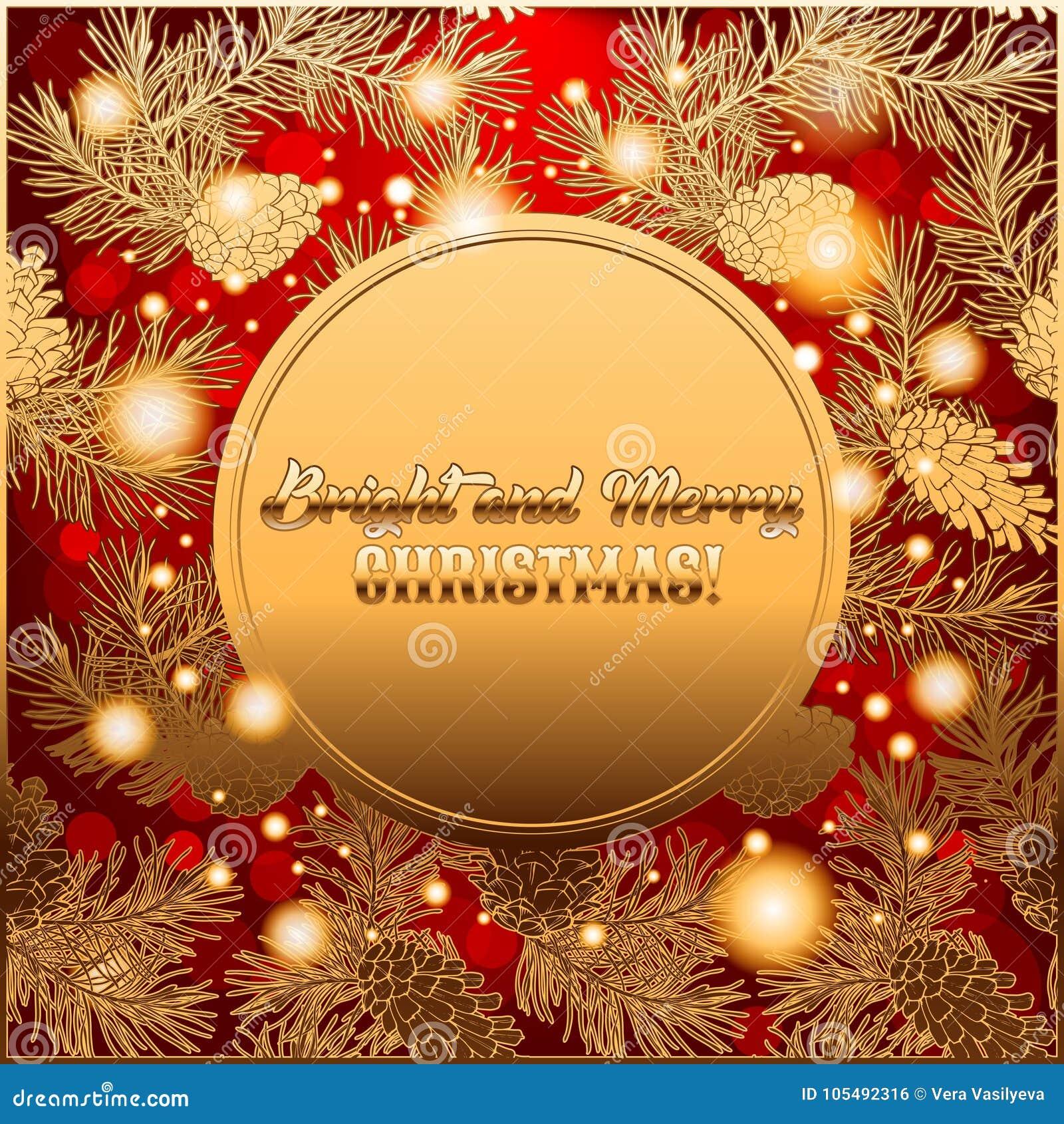 Invitación O Saludo De La Tarjeta De La Feliz Navidad Con La