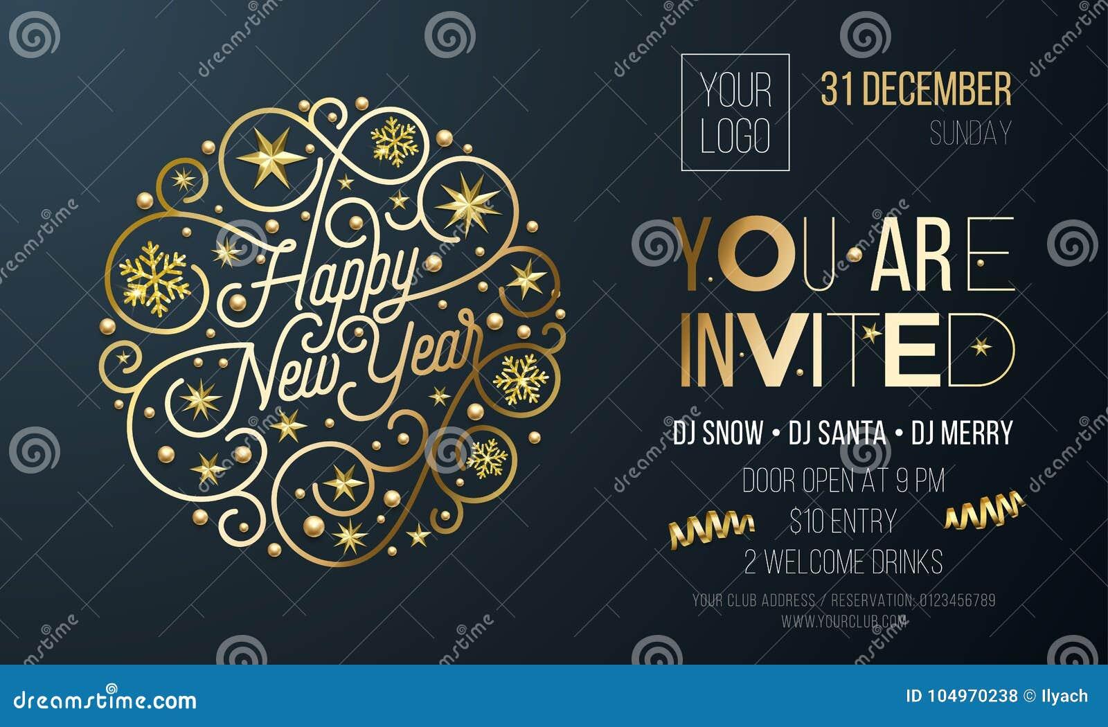 Invitación Para El Partido Del Año Nuevo De Decoración De