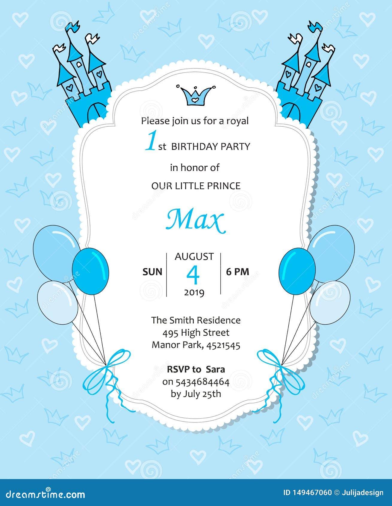 Invitación real del cumpleaños del bebé con los globos, el castillo, los corazones y las coronas