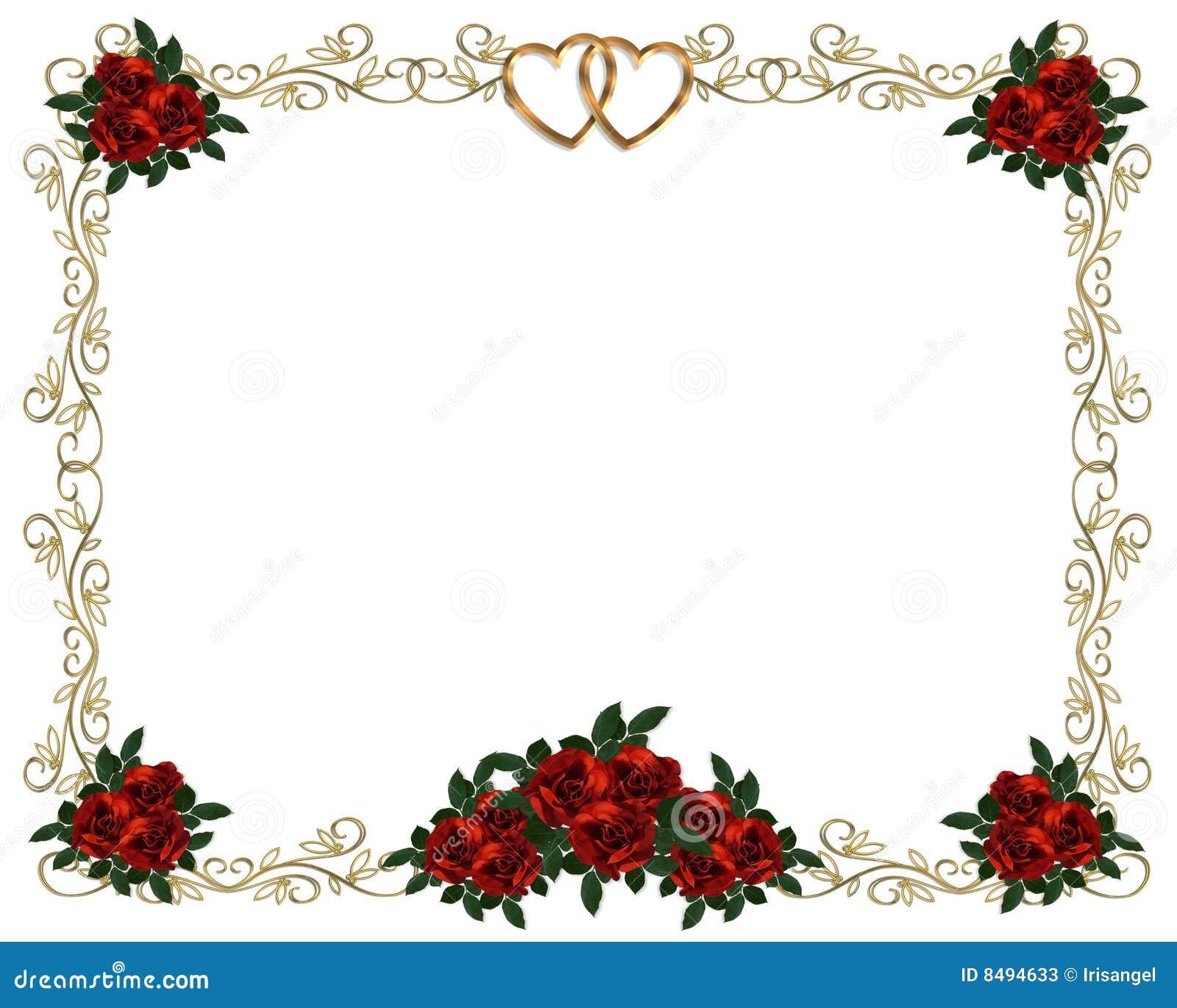 Invitación roja de la boda de la frontera de las rosas