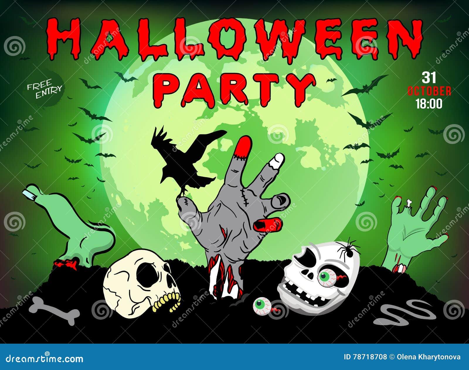 Invitación A Un Partido De Halloween Zombi Cráneo Ejemplo