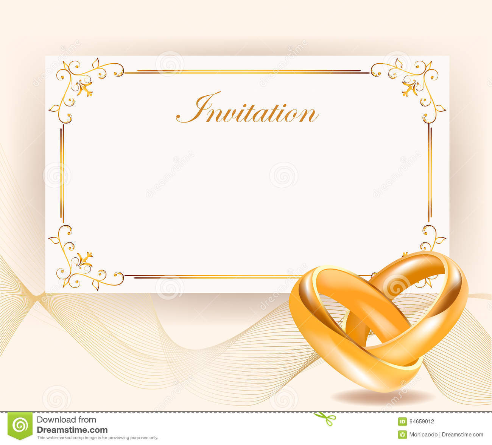 Invitaci n de la boda con los anillos de oro en estilo retro ilustraci n del vector imagen - Marcos de plata para bodas ...