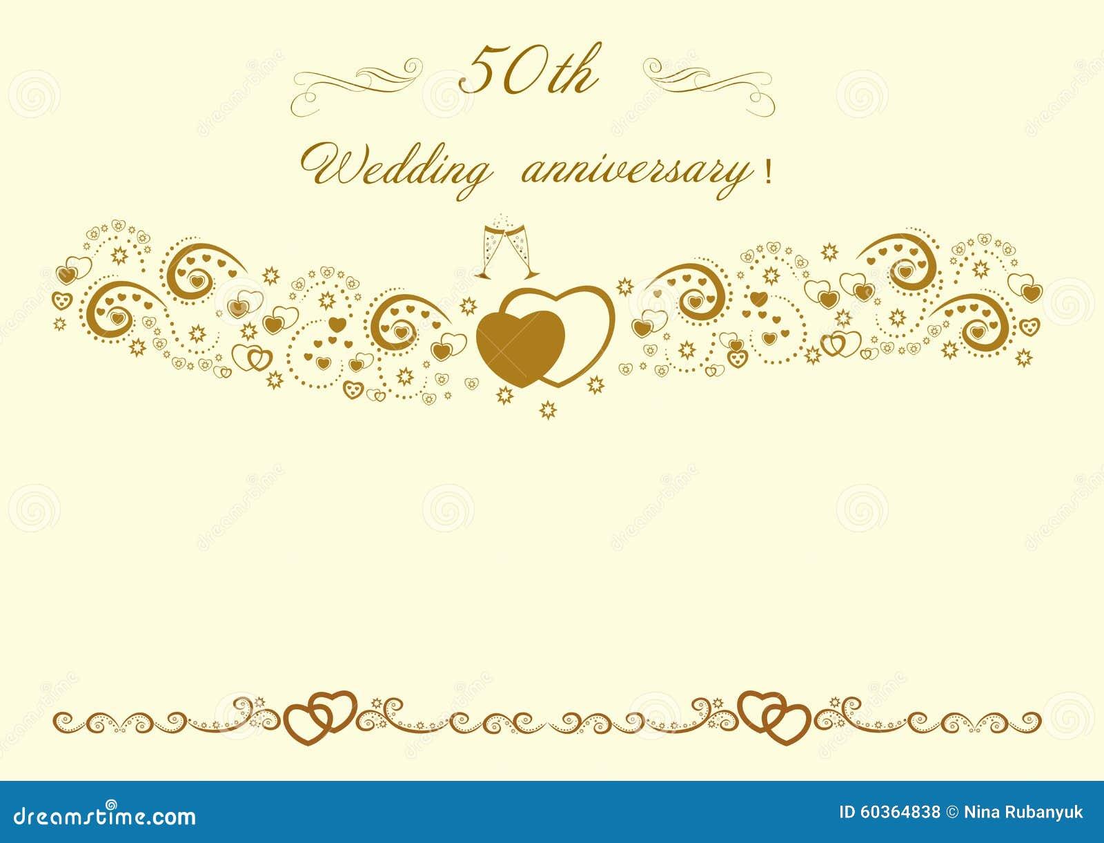 a invitación del aniversario de boda de oro Vector editable hermoso IL Fotos de archivo libres