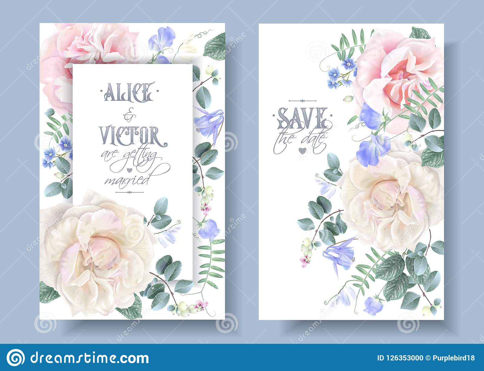 Invitaciones De Boda Florales Del Vintage Del Vector Con Las
