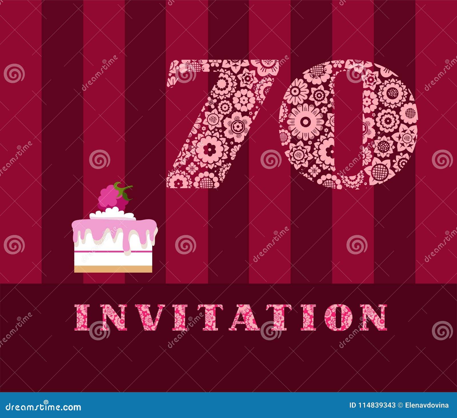 Invitation 70 Années Tarte De Framboise Vecteur Anglais