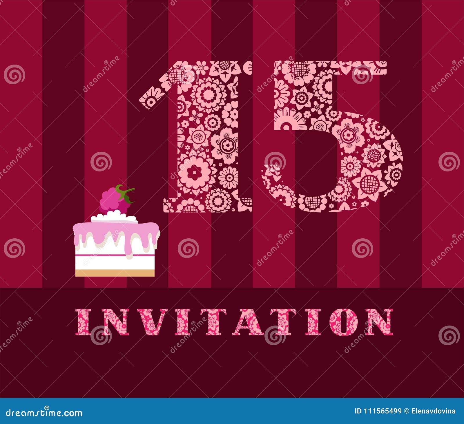 Invitation 15 Ans Gâteau Couleur Vecteur Illustration De
