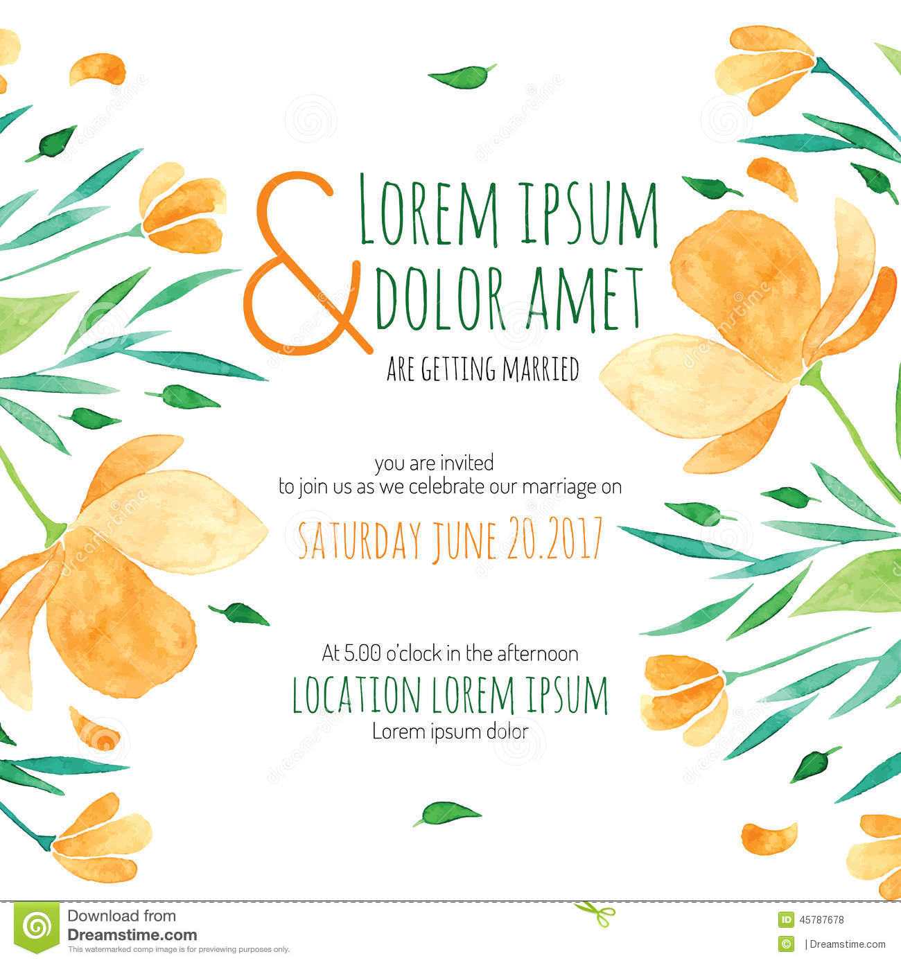 Invitation Bridal Shower Card With Orange Flower Stock Vector - Image ...