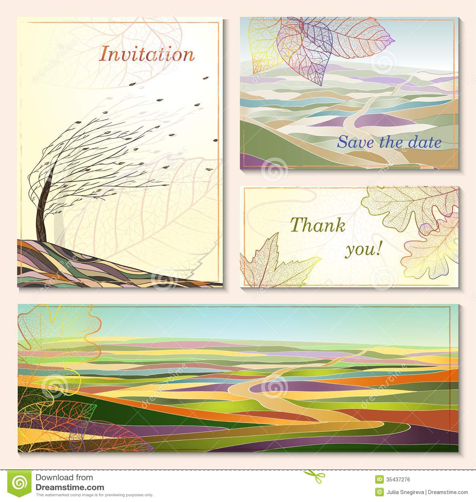 invitation card with autumn landscapes stock photo image 35437276. Black Bedroom Furniture Sets. Home Design Ideas