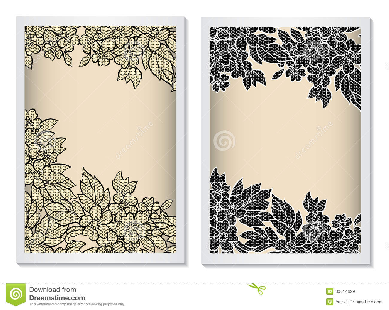 Invitation Card Template Vertical With Lace Stock Vector