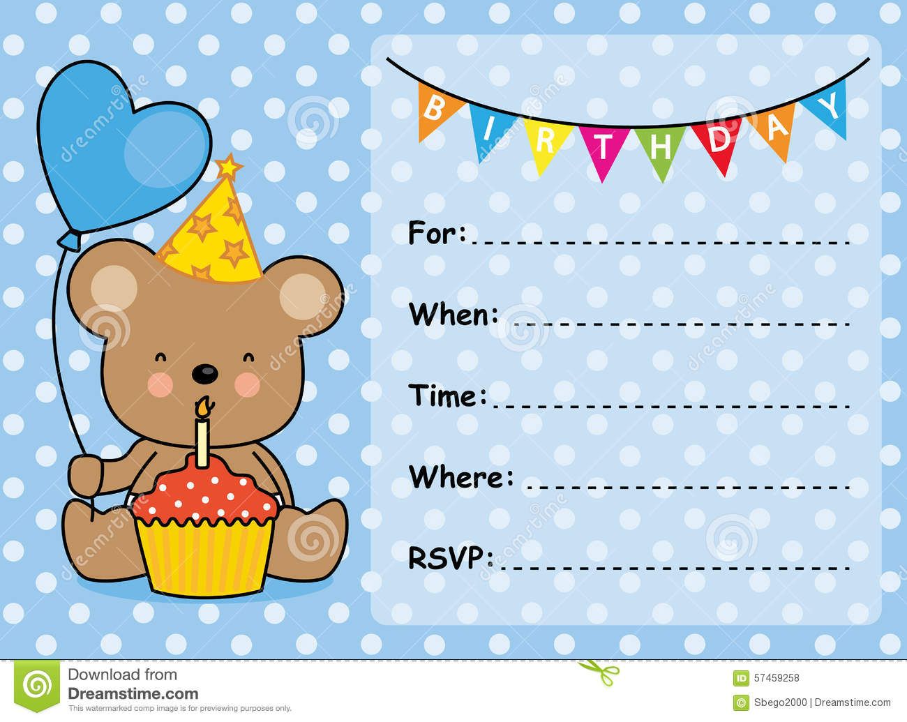 Invitation Card Birthday Boy Stock Vector - Illustration of love ...