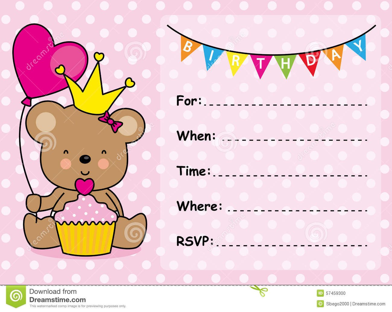 Invitation Card Birthday Girl Stock Vector - Illustration of heart ...