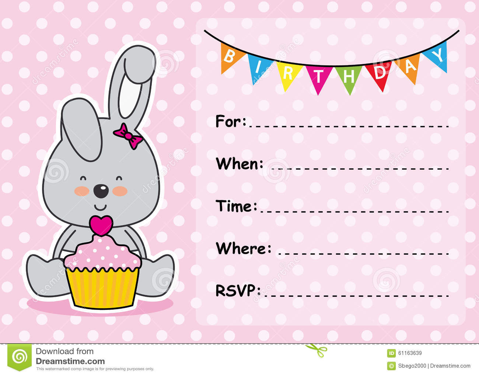 Invitation Card Birthday Girl Stock Vector - Image: 61163639