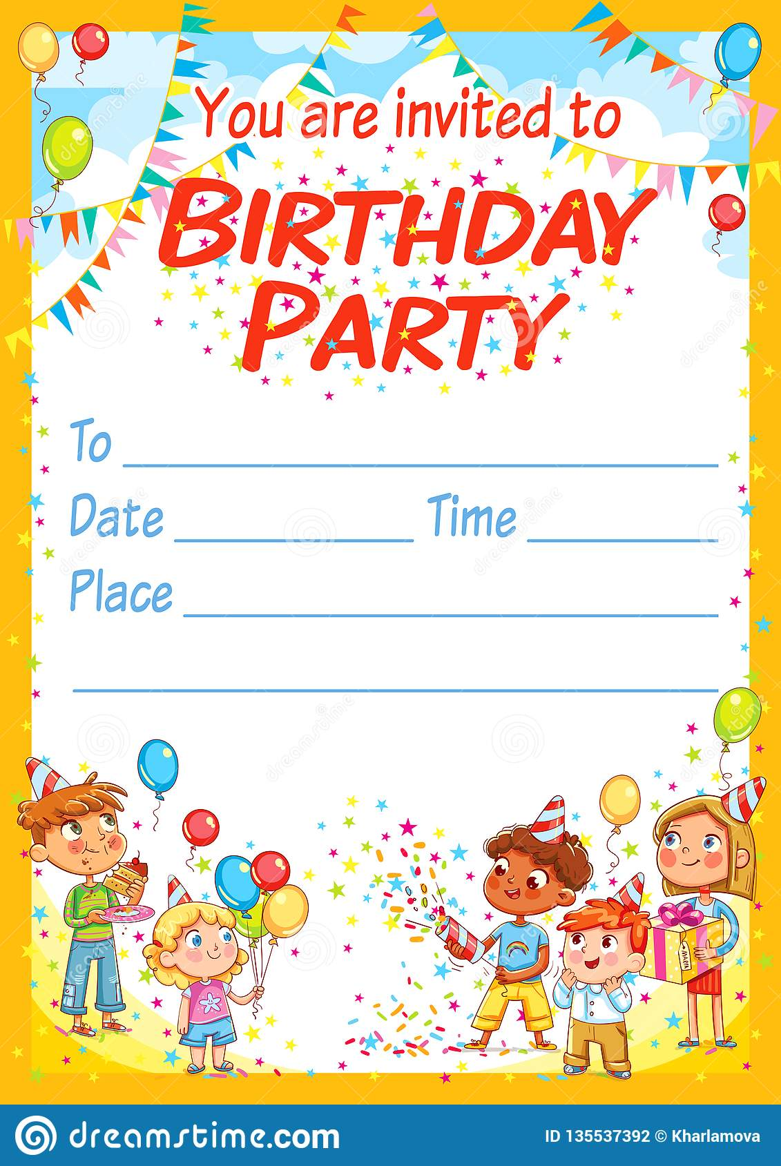 invitation card for the birthday party stock vector