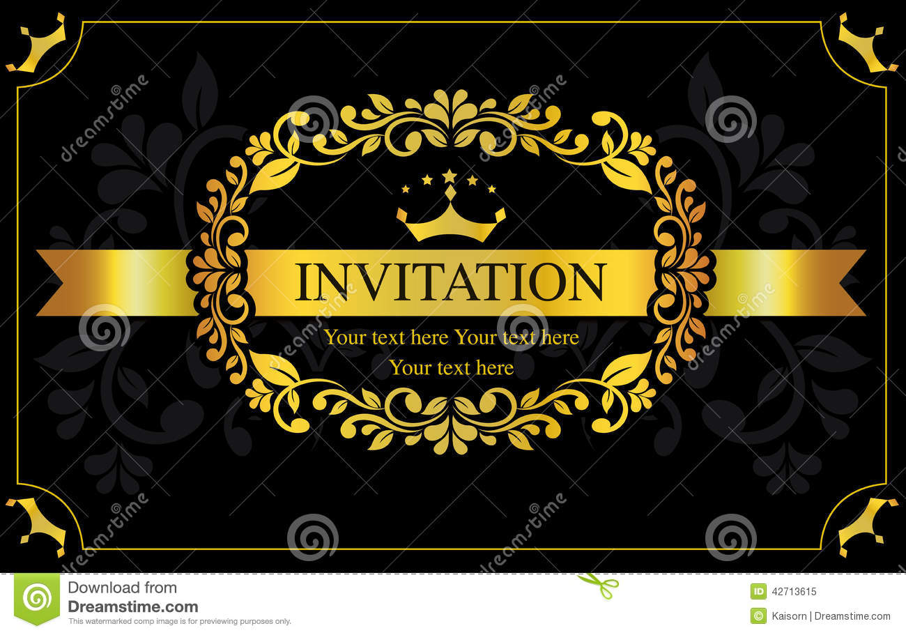 Invitation card black and gold style stock vector illustration of invitation card black and gold style background elegant stopboris Image collections