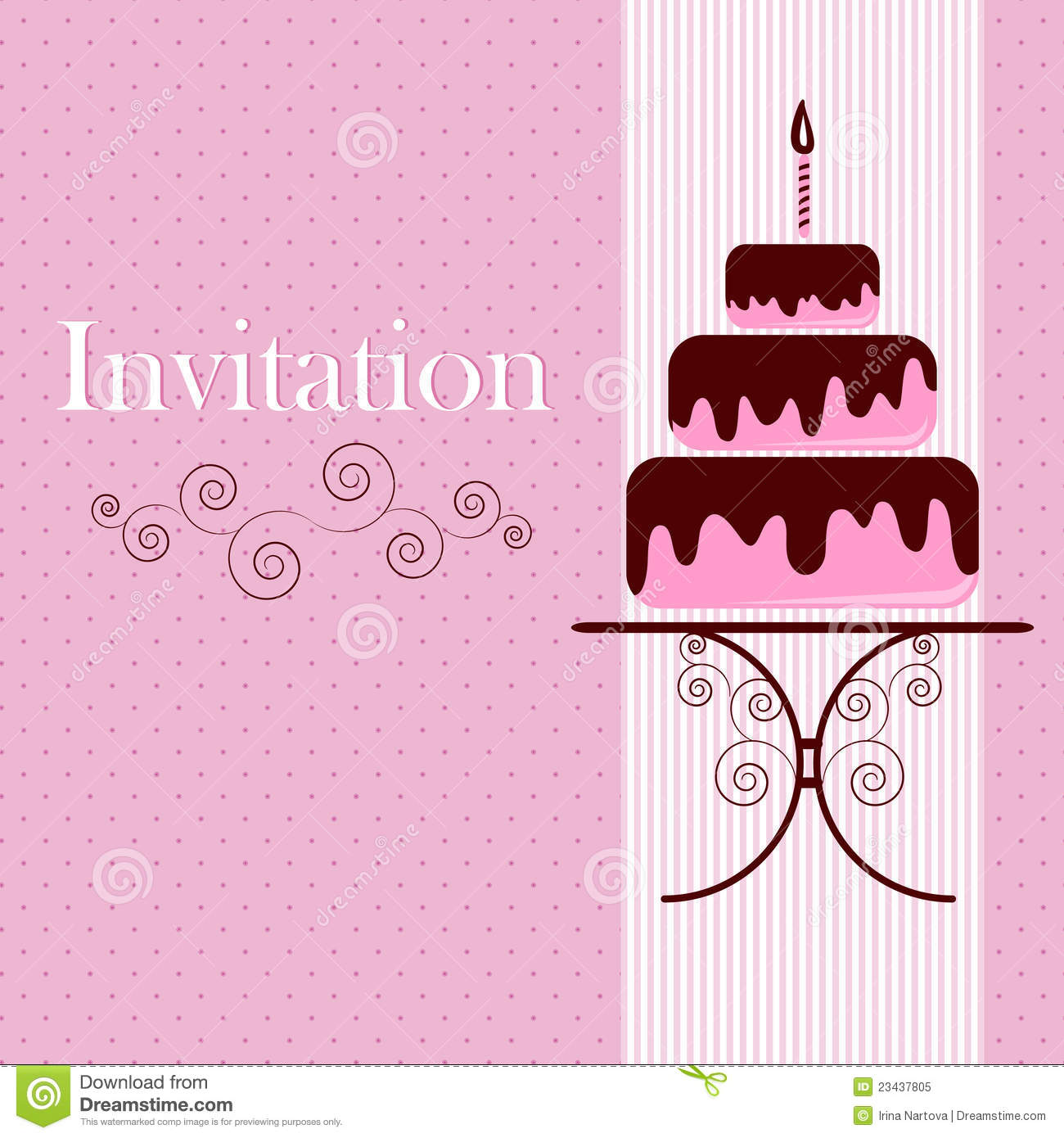 Invitation Card With Cake Stock Vector Illustration Of Copy 23437805