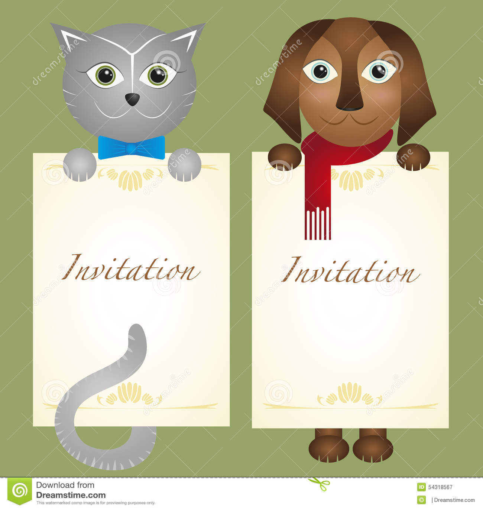 Invitation Card Cat Kitten Dog Retro Hipster Stock Vector ...